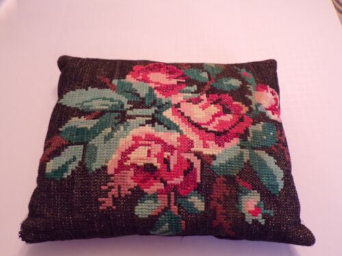 Vintage Rose Pillow Cross Stitched