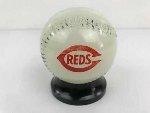 Vintage Cincinnati Reds Glass Baseball Bank Mobile Gas Red Pegasus Milk glass