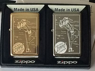 Zippo Collectors Set Of 2 Windy Lighters. Chrome and Brass With Windy Engraved
