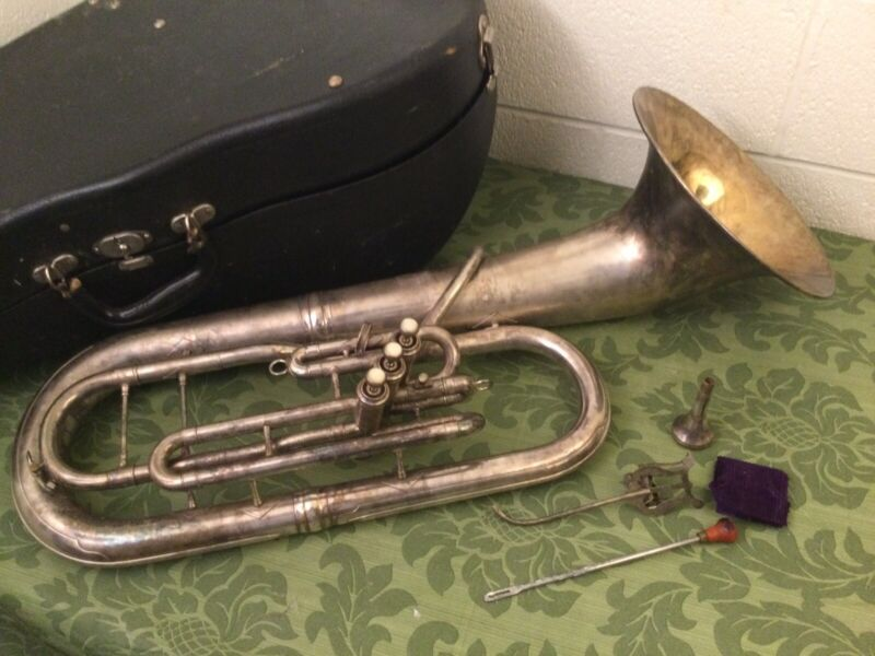 King HN White Silver Plated Model Baritone Horn & mouthpiece Serial 224271