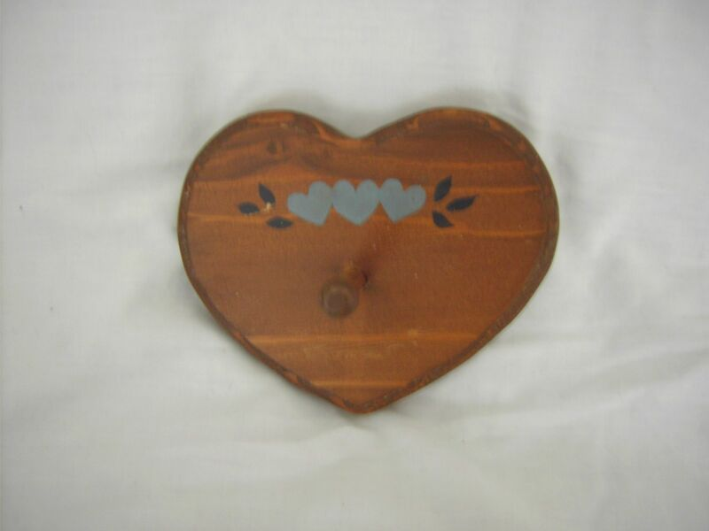 Heart shaped single peg hook - handcrafted stained wood with painted hearts