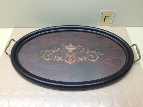 Vintage Oval Serving or Vanity Tray w/ Glass and Handles