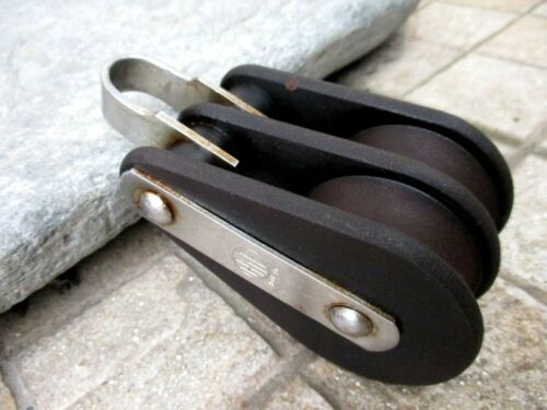 VINTAGE DOUBLE TUFNOL WOOD BLOCK PULLEY HYE HOLLAND MARITIME TOOL FIXED BOW
