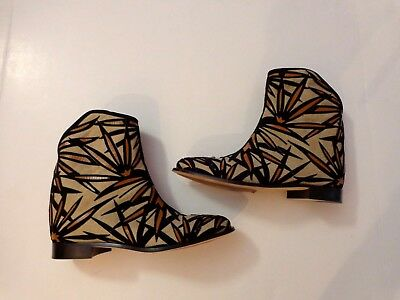 NWOB $1350 Jimmy Choo Mina ankles boots, size 36.5/6 color  Nude/Black/Canyon