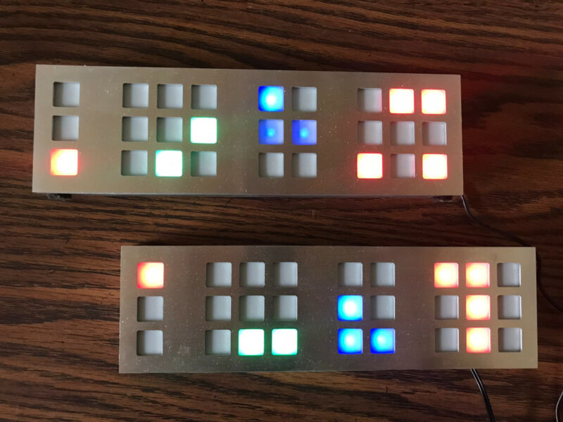 LOT Of 2 Tix Clock By Cube Root LED Stainless SILVER Front, With Adapters