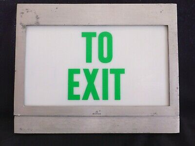Vintage Industrial Metal And Glass Boxed Lighted To Exit Sign By Miller