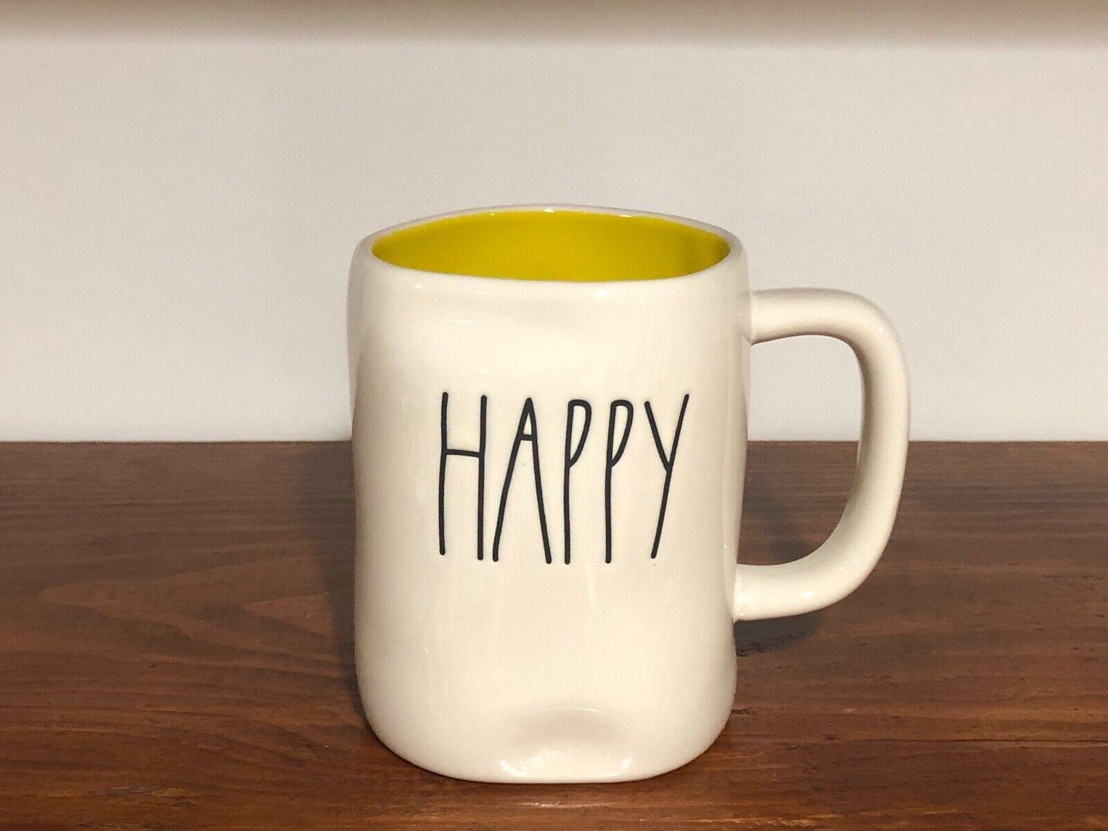 Rae Dunn Artisan Collection By Magenta Farmhouse LL Large Letter Coffee Tea Mug HAPPY (YELLOW)