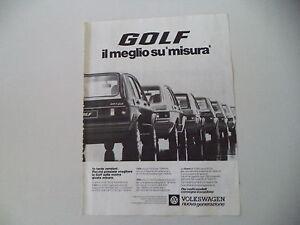 advertising Pubblicità 1978 VOLKSWAGEN GOLF GLS/GLD/GTI/LS/L - Italia - L'oggetto può essere restituito - Italia