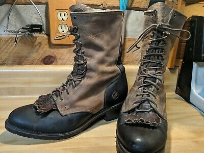 Double H Lacer Aeroglide Roper Boots Leather Brown Oil Resistant Size 11.5 guc