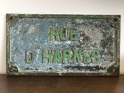 Antique FRENCH BRONZE STREET SIGN-Rue D'Harnes-Montceau les Mines-Heavy](French Street Sign)