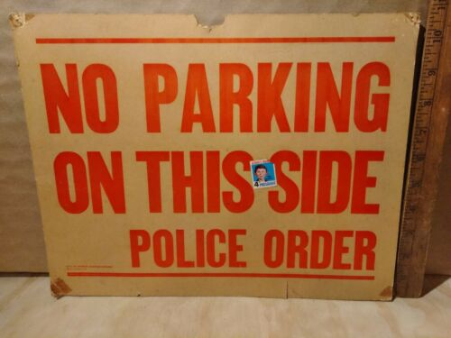 Vintage No Parking On This Side Police Order Cardboard Sign MAD1970
