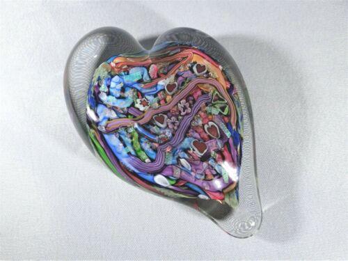 "Doug Sweet Karuna Glass Fantasy Heart Multicolored Millefiori Paperweight 4 1/8"""