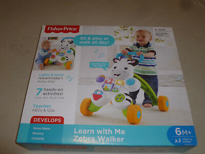 NEW IN BOX FISHER PRICE LEARN WITH ME ZEBRA WALKER BABY TOY ABCS 123S NIB 6M+ >>
