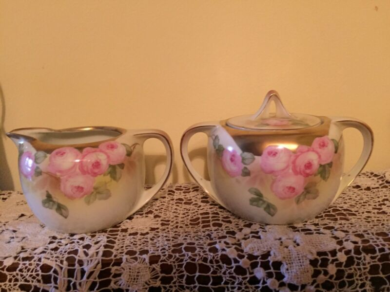Vintage R S Germany Creamer And Sugar Bowl With Lid Roses