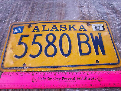 Alaska License Plate, Gold Style truck plate, 5580 BW, expired 1987