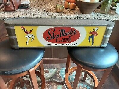 Vintage Original Art Deco Step Master shoes NEON PRODUCTS INC lighted Sign