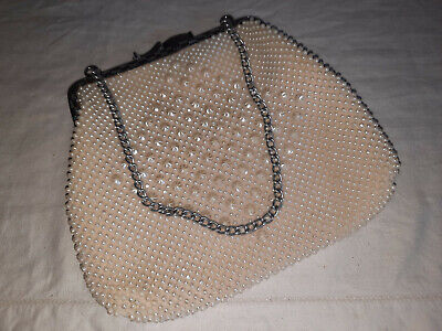 1940s Handbags and Purses History VINTAGE White Glass Beads Small Evening Purse Etched Metal Chain Link Strap $20.23 AT vintagedancer.com