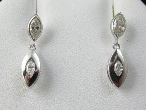 Marquise Diamond Earrings 18K White Gold Dangle Drop .72ctw Estate Fine Jewelry