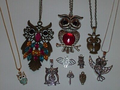 10 Piece Owl Pendant/Necklace and Small Charm Jewelry Lot