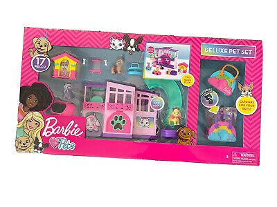NEW Barbie Deluxe Pet Set Dreamhouse Barbie Loves Pets Puppy Kitten Dog 17 piece