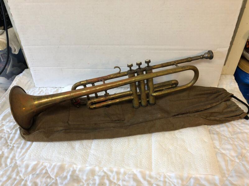 Antique Brass Trumpet Couesnon & Cie Paris Chateau-Thierry w Original Canvas Bag