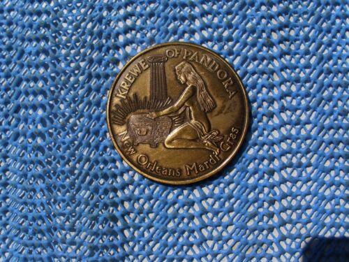 1968 Krewe of PANDORA antique bronze Mardi Gras Doubloon - 1st Year