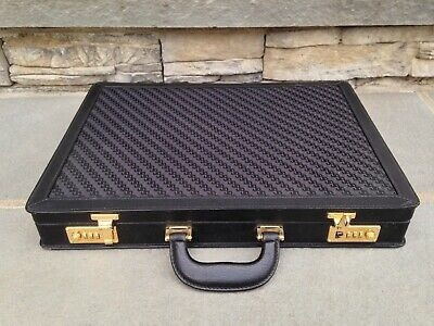 HARDLY USED Vintage Gucci Black Leather & GG Monogram Fabric Attache Briefcase