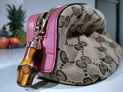 Gucci Cosmetics Bag Pink & Brown Leather & Canvas