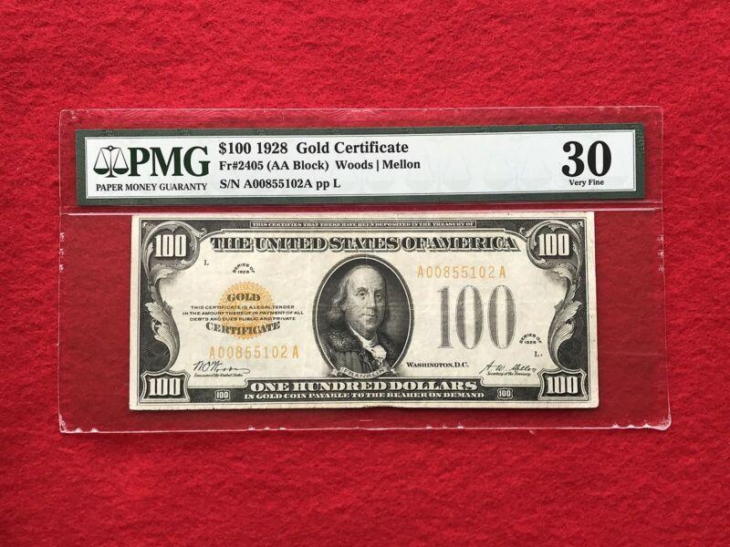 FR-2405 1928 Series $100 Dollar Gold Certificate *PMG 30 Very Fine*