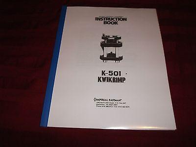 Imperial Eastman K501 Hydraulic Hose Crimp Machine Operator Instruction Manual