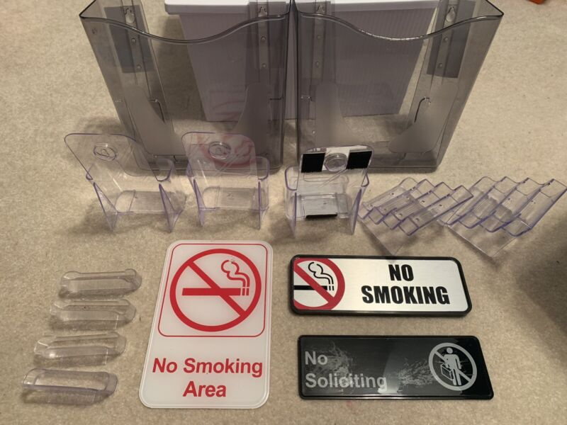 Acrylic Plexiglass Lot of Signs and Holders for Office/Business