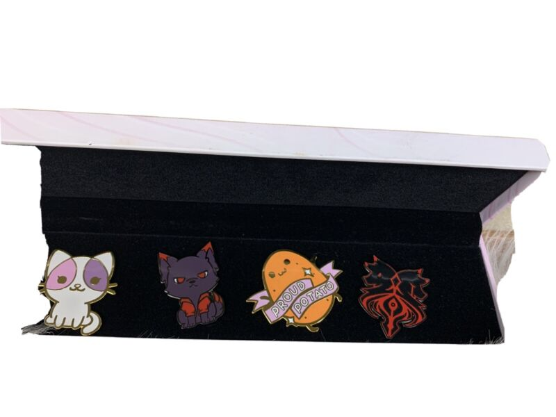 APHMAU Set Of 4 Pins Pin Box Aphmau Cat Potato Aaron Wolf And Lycan Crest