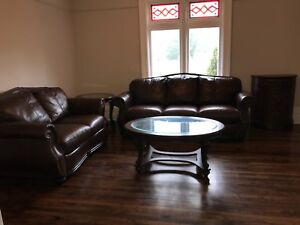 5 pc Living Room Set, Leather Sofa and Loveseat