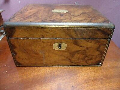 ANTIQUE VICTORIAN WALNUT & BRASS INLAID FITTED WRITING SLOPE BOX SECRET DRAWERS