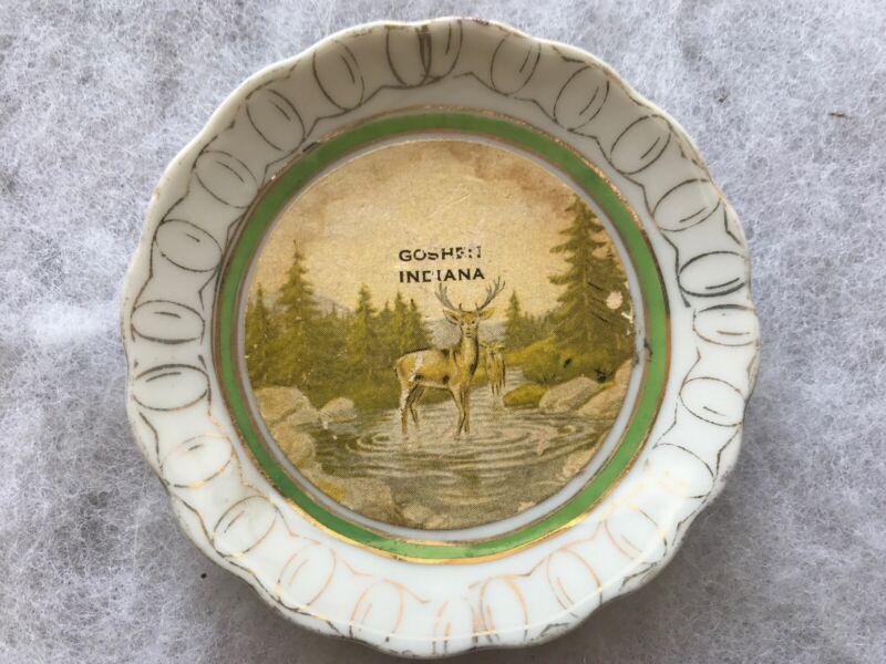 GOSHEN, Indiana Vintage Souvenir Plate With Deer, Made In Japan