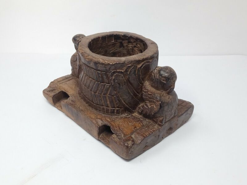 Old Wooden Mortar Peacock Figure Carved Mortar Kharal Tribal Hand Carved