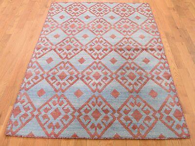 4'x6' Hand Woven Flat Weave Pure Wool Reversible Kilim Oriental Rug R44508