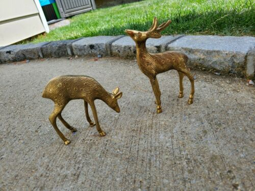 Brass Reindeer pair statue vintage Brass patina bronze vtg antique old trinket
