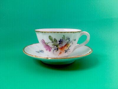 Teacup Blue China Teacup Saucer Porcelain Saucer Vintage Miniature Teacup and Saucer Turquoise /& Blue Leaf Motif Gilded Edge