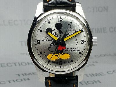 Vintage Helbros Mens Mickey mouse Mechanical Handwinding Wrist Watch OG314 Z
