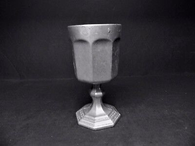 International Silver Pewter 8 Sided Base Water Goblet