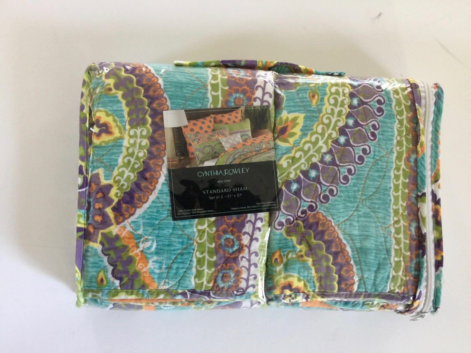 Set of 2 Pillow Shams Cynthia Rowley Full Queen Medallion Bo