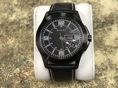 Authentic Men's GUCCI 126.2 Watch 45mm Black Leather Band
