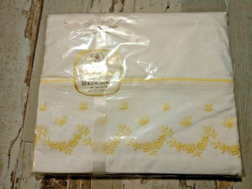 Vintage top sheet twin bed White Trimmed in Percale Yellow flowers, New Package