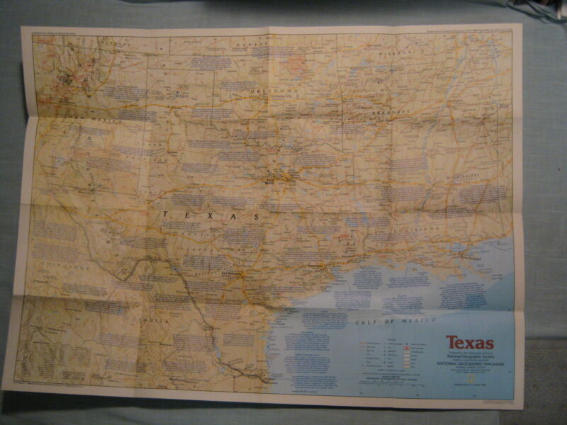 TEXAS MAP THE MAKING OF AMERICA + HISTORY National Geographic March 1986 MINT