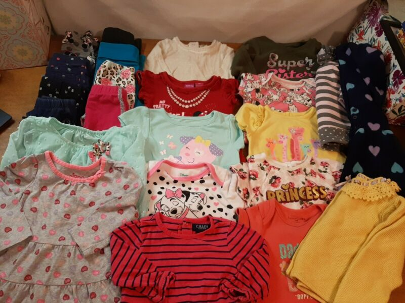 Lot Of 33, 18 Month Baby Girl Clothes, Pants, Shirts. Jackets