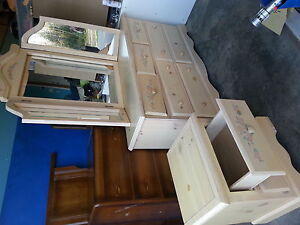 beautiful solid wood dresser with mirror and night stand
