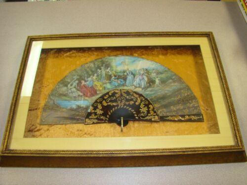 ANTIQUE HAND PAINTED ALEXANDER SCENE FAN IN PROFESSIONALLY FRAMED.