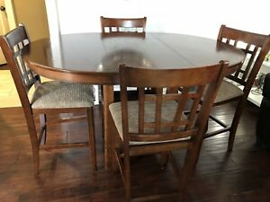 Pub style dining table with 4 chairs and 2 stools