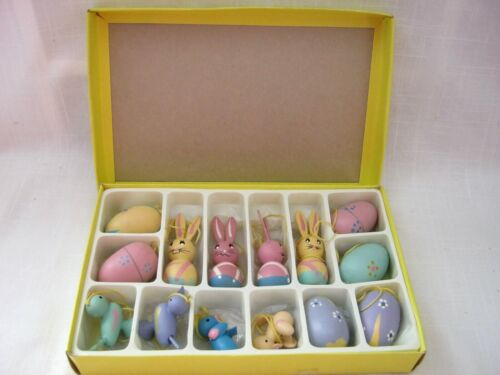 ONE Boxed Set of 14 Lillian Vernon 5582 Colorful Small Wooden Easter Ornaments